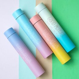 Wholesale Cup Printing Design - 260ml Modern Design Gradient Cup Vacuum Water Bottle Long Preversation Thermal Flask Letter Printed Mug Bottle Gift Water Cup CCA6716 24pcs