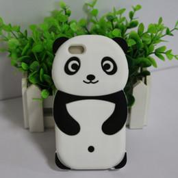 Canada Mignon 3D Panda Animaux de bande dessinée Drôle Doux et confortable Silicone Housse arrière pour iPhone 4S 5S 6S 7 Offre