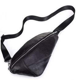 Wholesale single strap man bags - Men Chest Pack Sling Single Shoulder Strap Pack Bag soft Genuine leather Travel Bag Men Fashion Handbags Rucksack Chest Bag