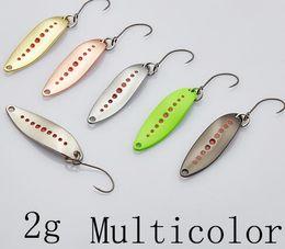 Wholesale Jigs 3g - Spoon 012 New Leech 2g 3g 5g BKK HOOK 33-38-45mm Multicolor 6piece lot Metal Small Spoon Fishing Lures
