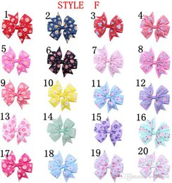 Wholesale Baby Hair Clips Ribbon - 20pcs lot Girls' kid Hair Accessories Baby Boutique HairBows Hairclips, Grosgrain Ribbon Pinwheel newbornHair Bow with clips for Headband
