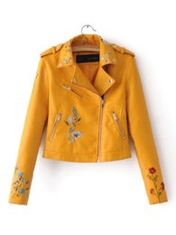 Wholesale New Fashion Pu Leather Sleeve - spring bomber jacket women 2017 new Floral Embroidered PU leather female Lapel zip motorcycle jacket female Black yellow red