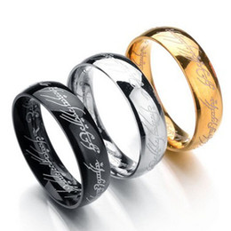 Wholesale Gold Plated Ring Mix Size - 6MM Size 6 -13 Gold Plated Stainless Steel Hobbit And Lord of the Ring Band Wedding Engagement Cocktail Husband Father Gifts