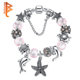 Wholesale Dolphin European Bead - BELAWANG European Ocean Tortoise Dolphin Starfish Marine Animals Silver Charms Bracelets&Bangles Pink Glass Beads Bracelets For Women Gift