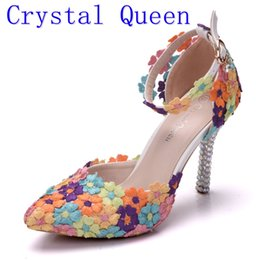 Wholesale Lace Flower Sandals - Crystal Queen Fashion Colorful Lace Flower Wedding Shoes Multicolor High Heel Sandals Banquet Pumps Handmade Prom Party Shoes