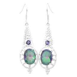 Wholesale Exotic Earrings - Luckyshine Two pieces lot 925 silver plated Exotic decorative border Mystic topaz crystal earrings for lady party gift E159 160