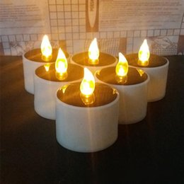 Wholesale Plastic Led Electronic Candle - Yellow Solar Power LED Candles Flameless Electronic Solar LED Tea Lights Lamp Plastic Solar Energy Candle for Outdoor