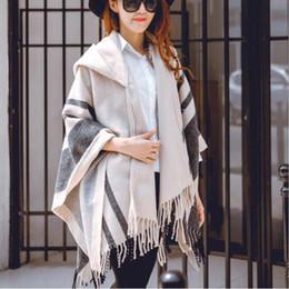 Wholesale Womens Wool Scarves - Fashion Womens Poncho Wraps Hooded Cape Coats Cardigan Batwing Pashmina Shawl Scarves Ladies Winter Cloak Coats Tassel Outwear