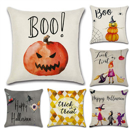 Wholesale Flax Weaving - Halloween Flax Pillow Case Cushion Cover Home Hotel Square 45*45cm Houseware Bedding Pillowcase Cushion Case Halloween Decoration