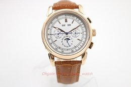 Wholesale Super Belts - Hot seller Super Complicated Automatic Watch Rose Gold Case And Skeleton Analog Sky Moon Glass Back Brown Leather Belt Mechanical Casual Wat