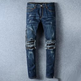 Wholesale Leather Denim Jeans Men - High Quality Biker Jeans With Zipper Skinny Motorcycle Amiri Ripped Jeans For Men Leather Knee Detail