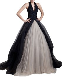 Wholesale Halter Ball Gown Wedding Dress - Gothic Vintage Halter Champagne and Black Wedding Dresses Princess Corset Beaded Lace Formal Wedding Gowns 2017 Sexy Women Ball Bride Dress