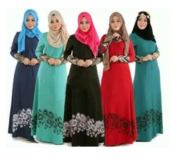 Wholesale Dubai Women Clothing - Islamic Abaya Dresses Women Arab Ladies Caftan Kaftan Malaysia Abayas Dubai Turkish Ladies Clothing Women Muslim Dresses
