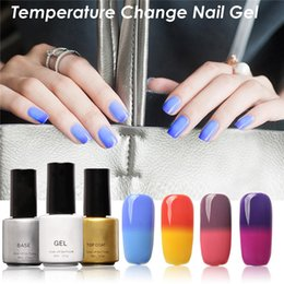 Wholesale Color Changing Paint - Wholesale- 6Ml Peel Off Nail Temperature Thermo Lacquer Color Gel Change Varnish Vernis Chameleon Paint Thermos Water Nail Polish #88153