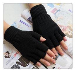 Wholesale Glove Covers - Free Shipping Hot Gloves Unisex Plain Basic Hot Fingerless Winter Knitted Gloves Warm Finger Cover Fingerless Gloves For Women