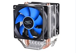 Wholesale intel 775 cooler - Wholesale- Deepcool MINI CPU cooler 2pcs 8025 fan double heatpipe radiator for Intel LGA 775 115x, for AMD 754 940 AM2+ AM3 FM1 FM2 cooling