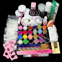 Wholesale Liquid Gel Nail Kits - Wholesale- Full 25 Nail Art Acrylic Nail Kit Powder Primer Glitte Liquid TIP Brush Glue Dust KITS Manicure Set To Build Gel Nails 34220