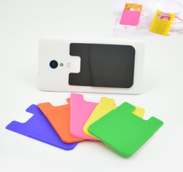 Wholesale Silicone Id Card Holder - Elastic silica Wholesales Cell Phone Wallet Case Credit ID Card Holder Pocket Stick On 3M Adhesive Black Blue Pink Green Yellow