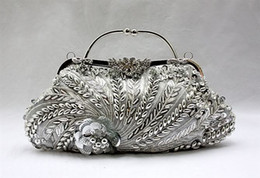 Wholesale Silver Beaded Purse - Wholesale- Silver Chinese Women's Beaded Sequined Handbag Clutch Banquet Wedding Evening Bag Purse Makeup Bag Free Shipping 1889-A