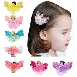 Wholesale 11 Year Cute Baby - 4styles Girls Fairy Princess Lace sequins Hairpins Cinderalla SnowWhite Butterfly Wings Hair Clips Cute Pretty baby hair accessory