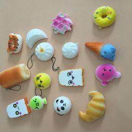 Wholesale Charm Bag Phone - 20 pcs Kawaii Squishies Rilakkuma Donut Cute Phone Straps Slow Rising Squishies Bag Charms Jumbo Buns Charms Handbag Squishy Free Shipping