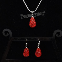 Wholesale Drop Shamballa Earrings - Shamballa Jewelry Set 9 Colors Rhinestone Water Drop Shaped Pendant Earrings And Necklace For Party 5 Sets lot Wholesale