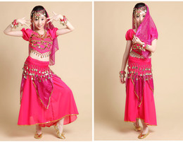 Wholesale Indian Dancing Skirts - Child belly dance sexy costume for kids indian dance female child short-sleeve costume skirt Top&Skirt&Belt&Headband&Bracelet 3 colors S M L