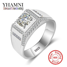 Wholesale Solid Gold Pave Diamond - YHAMNI 100% Solid 925 Sterling Silver Ring 1 Carat Diamond Engagement Rings For Men Wedding Ring Charm Jewelry MJZ015