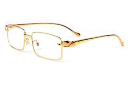 Wholesale Womens Leopard Sunglasses - luxury designer sunglasses for men buffalo horn sunglasses silver gold leopard frame rimless womens sun glasses clear black lens