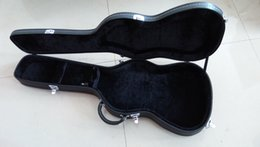 Wholesale Black Box Guitar - Wholesale ST guitars hardcase Top quality New style Black color and inside is the Golden Guitar Box