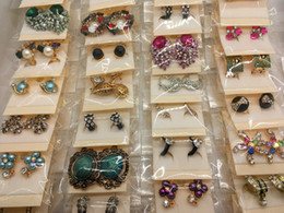 Wholesale 18k Earrings Wholesale - Fashion Exquisite Mix Style Crystal Rhinestone Jewelry Ear Stud Earrings For Women Best Gift Wholesale Pairs