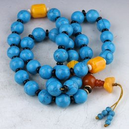 Wholesale Chinese Coral Beads - Chinese Collectibles Handmade Blue Coral And Beeswax Prayer beads Necklace