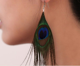 Wholesale Peacock Party - Retro national style luxury peacock feather earrings color wild earrings fashion trend