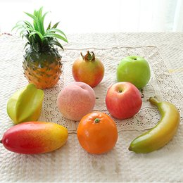 Wholesale Artificial Fruit For Home Decor - 9pcs Lot Artificial Fruits lifelike Simulation Fruits for home and party wedding decoration Photo props kitchen decor fruit mold