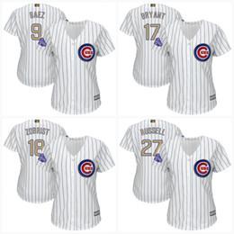 Wholesale Addison Russell - Womens 2017 Gold Program World Series Champions Chicago Cubs 9 Javier Baez 17 Kris Bryant 18 Ben Zobrist 27 Addison Russell Baseball Jerseys