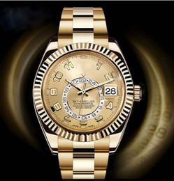 Wholesale Gold Mens Digital Watches - Luxury Men's Automatic Yellow Gold Sky Watch Men Date Dual Time Zone Dweller Annual Calendar 326938 2813 movement Mens Men's Watch Watches