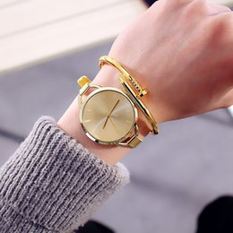 Wholesale Gilded Watch - Gilded Watch Ladies Watches Student Silver Stylish Simplicity Metal Mesh Watch Strap Unisex Alloy Case Strap Quartz Watch