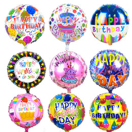 Wholesale Inflatable Cartoon Toys - 10pcs 18 inches Globos Happy Birthday Foil Balloons Children Birthday Inflatable Toys Ballons Helium Balloon Party Decoration