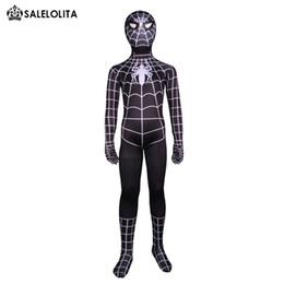 Costume nero di lycra spiderman online-2017 Bambini Nero Spiderman Halloween Costumi Bambini Lycra Spandex Zentai Tuta Bambino Supereroe Spider-man Costume