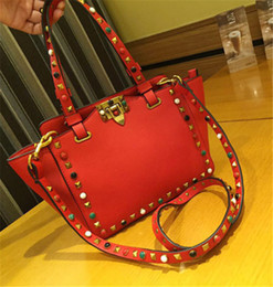 Wholesale Europe Style Handbag - Women Tote Handbag Trapeze Rivets Cow Genuine Leather Shoulder Bags Fashion Luxury Brand Colorful 2017 Europe Style
