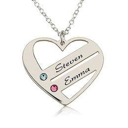 Wholesale heart birthstone necklace - Love Pendant Heart Necklace 2016 New Arrival Personality Birthstone Necklaces Custom Made Name Birthday Gift YP2482