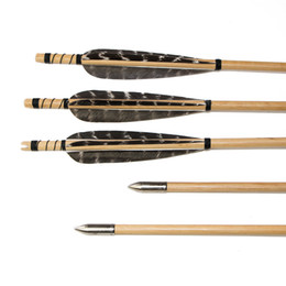 Wholesale Feather Arrow Fletching - 6pcs Huntingdoor Wooden Target Arrows Turkey Feather Fletching with Field Points for Recurve Bow or Longbow