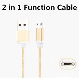 Wholesale Reversible Usb - Reversible 2 in 1 Function Aluminum Braided Nylon Micro USB Data Sync Charging Cable 1M 3FT For Samsung S7 S8 HTC LG Smartphone Universal