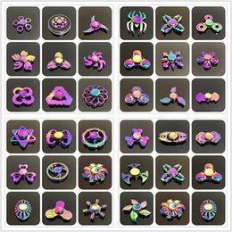 Wholesale Type Spinners - 48 types Fidget spinner toys Rainbow Tri-Fidget Metal Hand Colorful EDC Gyro Toys HandSpinner Aluminum spinners finger top spinning 100
