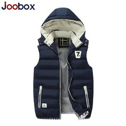 Wholesale Men Vest Jacket Hood - Wholesale- Branded Men's Winter Cotton-Padded Waistcoat Casual Winter Detachable Hood Thick Vest Men Fashion Sleeveless Jackets VT-158