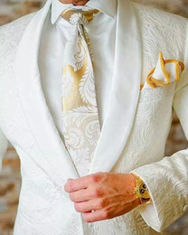Wholesale Green Slim Fit Suits - Custom 2017 White Jacquard Tuxedos Best Men Groom Wedding 3pcs Suits Slim Fit