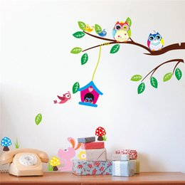 Wholesale Green Glass Art - fashion Creative DIY wall sticker for kids bedroom Carved Removable cute owl on Branches cartoon Sticker Decor pvc poster 2017 Wholesale