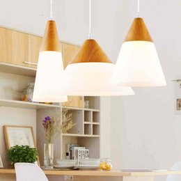 Wholesale Wood Glasses Shop - Nordic creative modern glass wood simple bedroom restaurant living room clothes shops bar pendant lighting led fixture