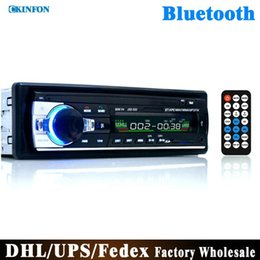 Wholesale Auto Car Audio - DHL Fedex 10pcs lot Car Radio Stereo Player Bluetooth Phone AUX-IN MP3 FM USB 1 Din Remote Control 12V Car Audio Auto JSD520