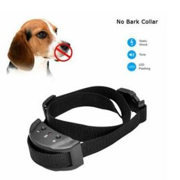 Wholesale dog stop barking collar - New Anti No Bark Shock Dog Trainer Stop Barking Pet Training Control Collar Automatic Remote Control Adjustable Trainer Collar CCA7062 60pcs